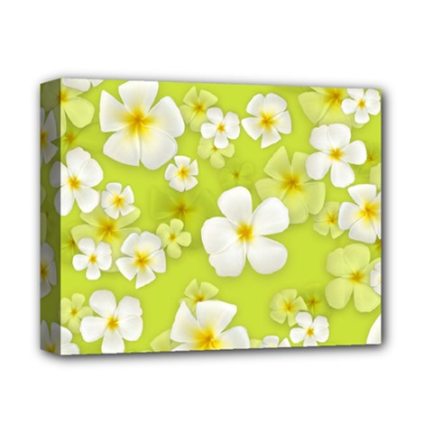 Frangipani Flower Floral White Green Deluxe Canvas 14  X 11