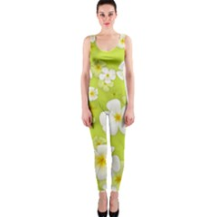 Frangipani Flower Floral White Green Onepiece Catsuit