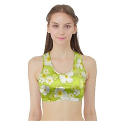 Frangipani Flower Floral White Green Sports Bra with Border