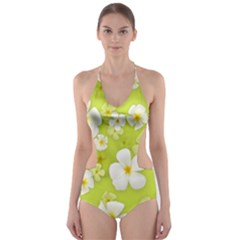Frangipani Flower Floral White Green Cut-Out One Piece Swimsuit