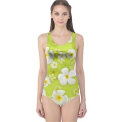 Frangipani Flower Floral White Green One Piece Swimsuit