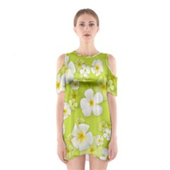 Frangipani Flower Floral White Green Shoulder Cutout One Piece