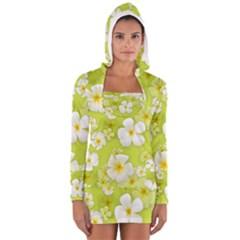 Frangipani Flower Floral White Green Women s Long Sleeve Hooded T Shirt