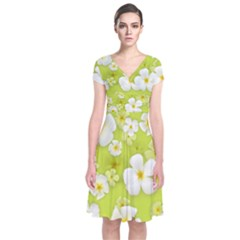 Frangipani Flower Floral White Green Short Sleeve Front Wrap Dress