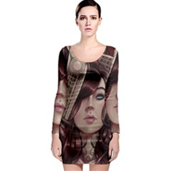 Beautiful Women Fantasy Art Long Sleeve Bodycon Dress