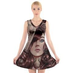 Beautiful Women Fantasy Art V Neck Sleeveless Skater Dress