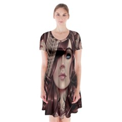 Beautiful Women Fantasy Art Short Sleeve V Neck Flare Dress