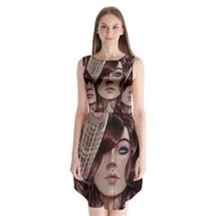 Beautiful Women Fantasy Art Sleeveless Chiffon Dress