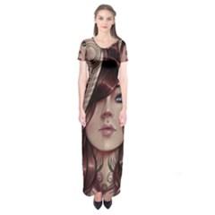 Beautiful Women Fantasy Art Short Sleeve Maxi Dress