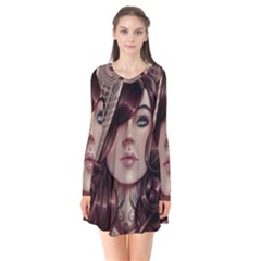 Beautiful Women Fantasy Art Flare Dress