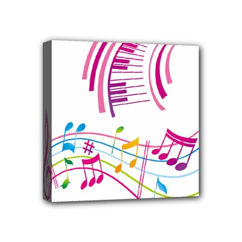 Musical Notes Pink Mini Canvas 4  X 4
