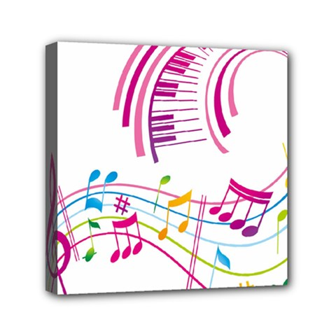 Musical Notes Pink Mini Canvas 6  x 6