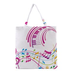 Musical Notes Pink Grocery Tote Bag