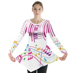 Musical Notes Pink Long Sleeve Tunic