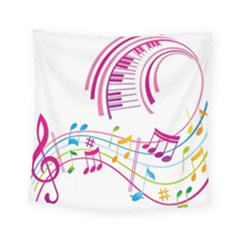 Musical Notes Pink Square Tapestry (small)