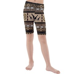 African Vector Patterns  Kids  Mid Length Swim Shorts
