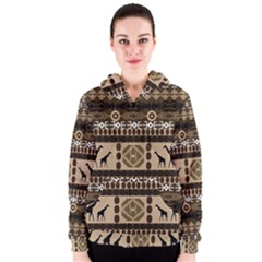 African Vector Patterns  Women s Zipper Hoodie