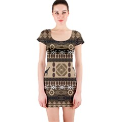 African Vector Patterns  Short Sleeve Bodycon Dress