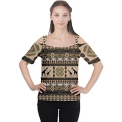 African Vector Patterns  Women s Cutout Shoulder Tee