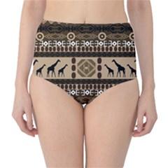 African Vector Patterns  High Waist Bikini Bottoms
