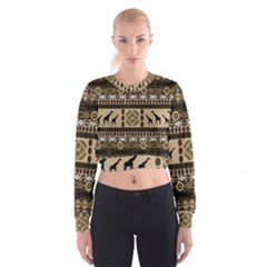 African Vector Patterns  Women s Cropped Sweatshirt