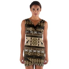 African Vector Patterns  Wrap Front Bodycon Dress