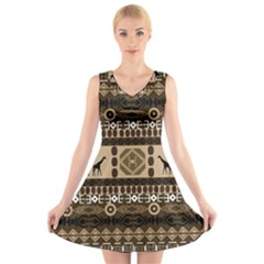 African Vector Patterns  V-Neck Sleeveless Skater Dress