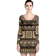 African Vector Patterns  Long Sleeve Velvet Bodycon Dress