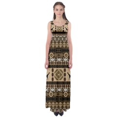 African Vector Patterns  Empire Waist Maxi Dress