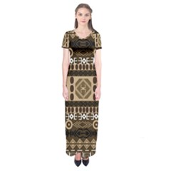 African Vector Patterns  Short Sleeve Maxi Dress