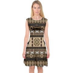 African Vector Patterns  Capsleeve Midi Dress