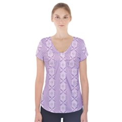 Flower Star Purple Short Sleeve Front Detail Top