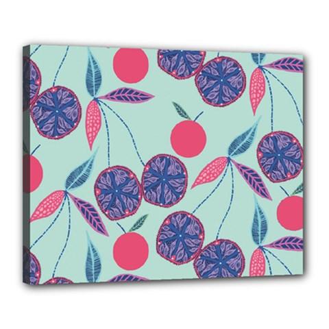 Passion Fruit Pink Purple Cerry Blue Leaf Canvas 20  X 16