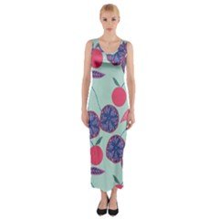 Passion Fruit Pink Purple Cerry Blue Leaf Fitted Maxi Dress