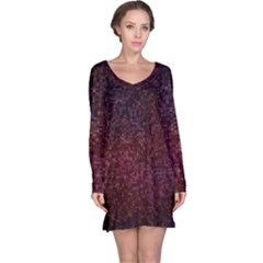 3d Tiny Dots Pattern Texture Long Sleeve Nightdress