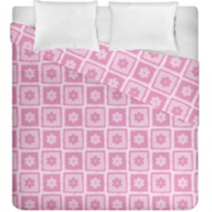 Plaid Floral Flower Pink Duvet Cover Double Side (king Size)