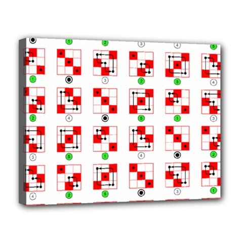 Permutations Dice Plaid Red Green Canvas 14  X 11