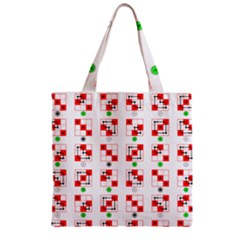 Permutations Dice Plaid Red Green Zipper Grocery Tote Bag