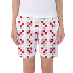 Permutations Dice Plaid Red Green Women s Basketball Shorts