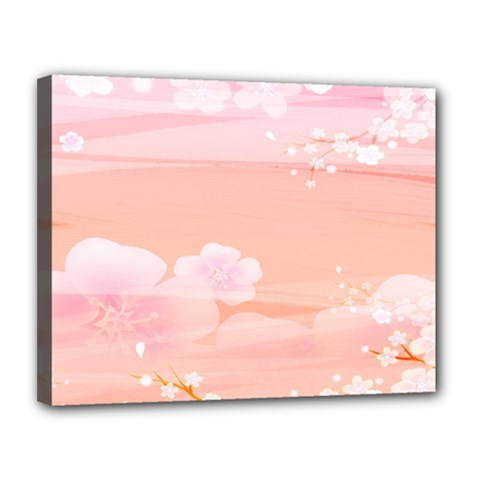 Season Flower Floral Pink Canvas 14  x 11