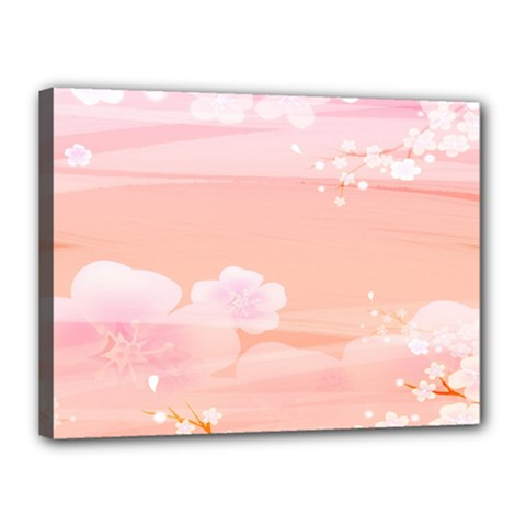 Season Flower Floral Pink Canvas 16  x 12