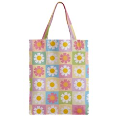 Season Flower Sunflower Blue Yellow Purple Pink Zipper Classic Tote Bag