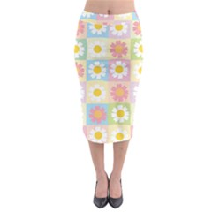 Season Flower Sunflower Blue Yellow Purple Pink Midi Pencil Skirt