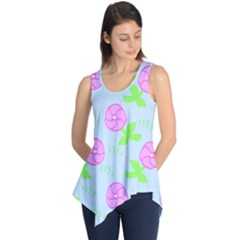 Spring Flower Tulip Floral Leaf Green Pink Sleeveless Tunic