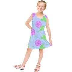 Spring Flower Tulip Floral Leaf Green Pink Kids  Tunic Dress