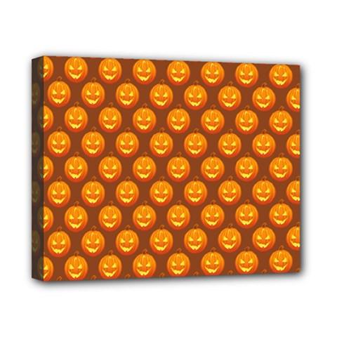 Pumpkin Face Mask Sinister Helloween Orange Canvas 10  x 8