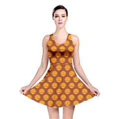 Pumpkin Face Mask Sinister Helloween Orange Reversible Skater Dress