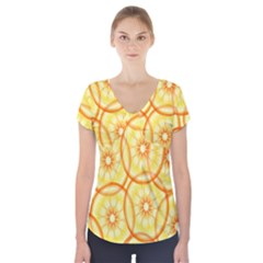 Lemons Orange Lime Circle Star Yellow Short Sleeve Front Detail Top