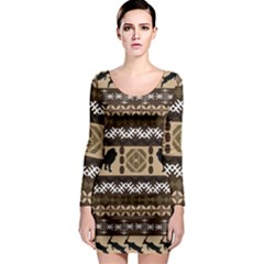 African Vector Patterns  Long Sleeve Bodycon Dress