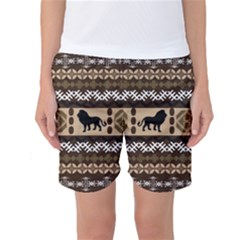 African Vector Patterns  Women s Basketball Shorts